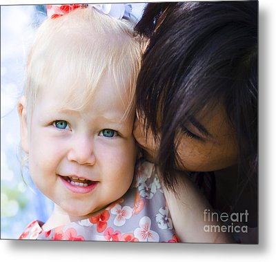 Brunette Mother Kissing Blonde Daughter At Park Metal Print by Jorgo Photography - Wall Art Gallery