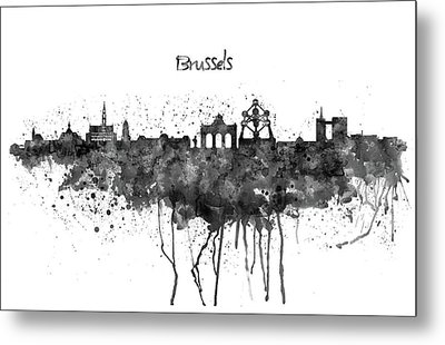 Brussels Black And White Skyline Silhouette Metal Print by Marian Voicu