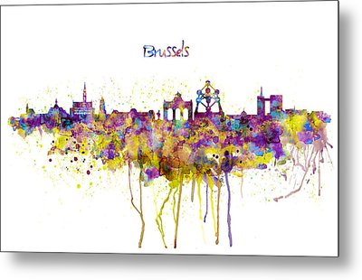 Brussels Skyline Silhouette Metal Print by Marian Voicu
