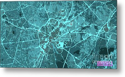 Brussels Traffic Abstract Blue Map And Cyan Metal Print