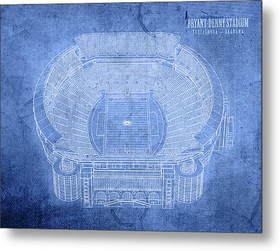 Bryant Denny Stadium Alabama Crimson Tide Football Tuscaloosa Field Blueprints Metal Print by Design Turnpike