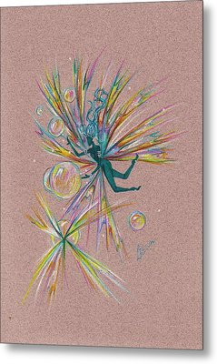Metal Print featuring the drawing Bubble Bursting by Dawn Fairies