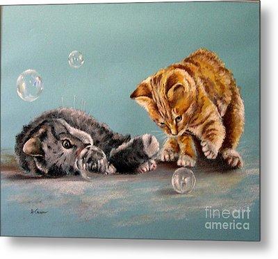 Bubble Cats Metal Print