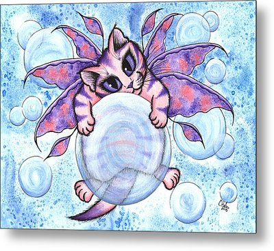 Metal Print featuring the painting Bubble Fairy Kitten by Carrie Hawks