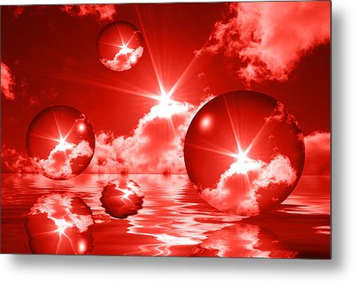 Metal Print featuring the photograph Bubbles In The Sun - Red by Shane Bechler