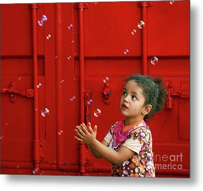 Bubbling Girl Metal Print