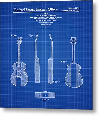 Buck Owens Guitar Patent 1972 Blue Print Metal Print
