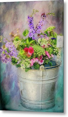 Bucket Of Flowers Metal Print by Ches Black