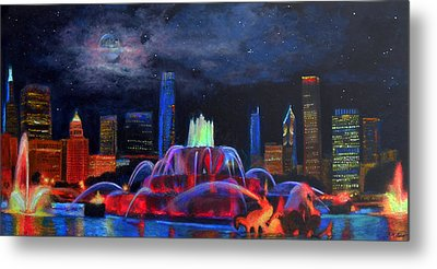 Buckingham Fountain In Chicago Metal Print by Michael Durst