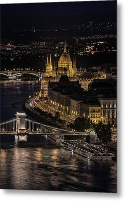 Metal Print featuring the photograph Budapest View At Night by Jaroslaw Blaminsky