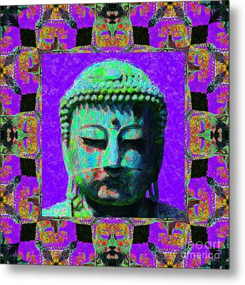 Buddha Abstract Window 20130130m28 Metal Print by Wingsdomain Art and Photography