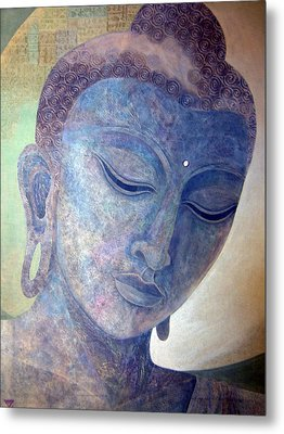Buddha Alive In Stone Metal Print by Jennifer Baird