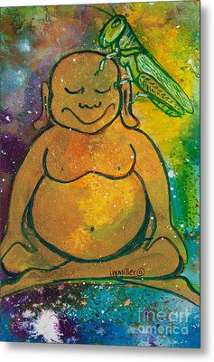 Buddha And The Divine Grasshopper No. 1309 Metal Print by Ilisa Millermoon