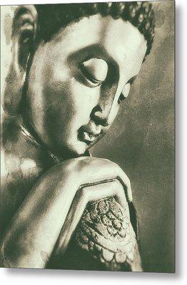 Buddha Close Sepia Metal Print