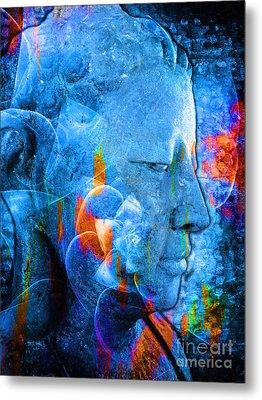 Buddha Coral Metal Print by Khalil Houri