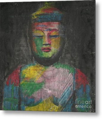 Buddha Encaustic Painting Metal Print by Edward Fielding