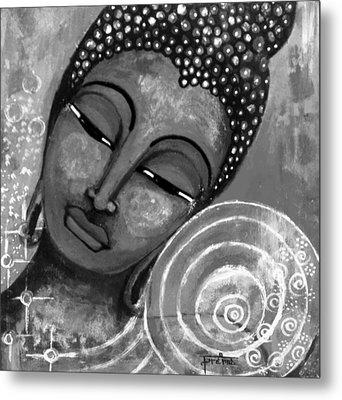 Buddha In Grey Tones Metal Print
