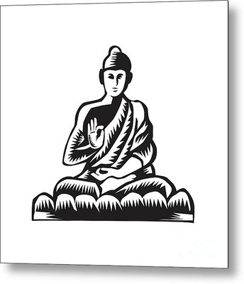 Buddha Lotus Pose Woodcut Metal Print