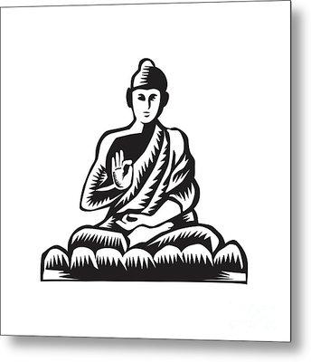 Buddha Lotus Pose Woodcut Metal Print by Aloysius Patrimonio