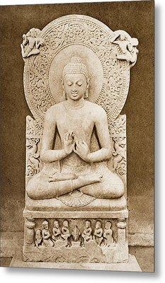 Buddha Preaching. Sculpture Discovered Metal Print