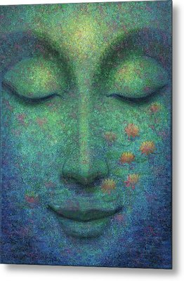 Metal Print featuring the painting Buddha Smile by Sue Halstenberg