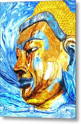 Buddha Surf Metal Print by Khalil Houri