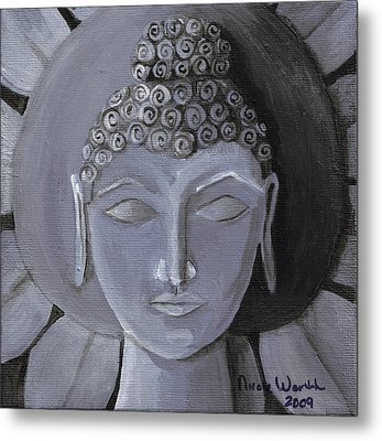 Buddha With A Stone Lotus Metal Print by Nicole Werth