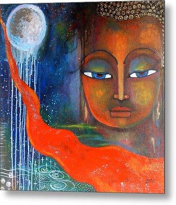 Buddhas Robe Reaching For The Moon Metal Print