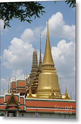Buddhist Chedi - Bangkok Metal Print by Mike Holloway