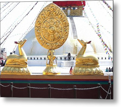 Buddhist Dharma Wheel Metal Print by Dagmar Batyahav