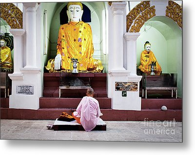 Metal Print featuring the photograph Buddhist Nun At Shwedagon Pagoda by Dean Harte