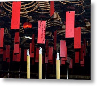 Buddhist Temple Ladder Street 2 Hong Kong Metal Print by Michael Canning