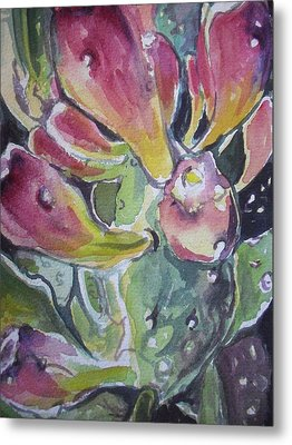 Budding Cactus In Spring IIi Metal Print by Aleksandra Buha