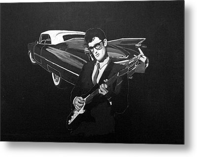 Buddy Holly And 1959 Cadillac Metal Print by Richard Le Page