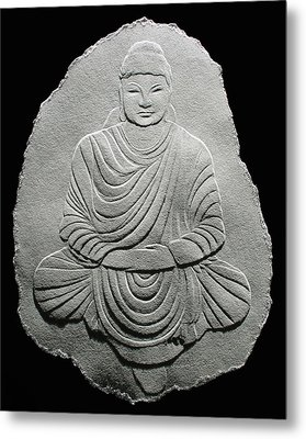 Budha - Fingernail Relief Drawing Metal Print