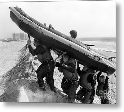 Buds Students Carry An Inflatable Boat Metal Print by Michael Wood