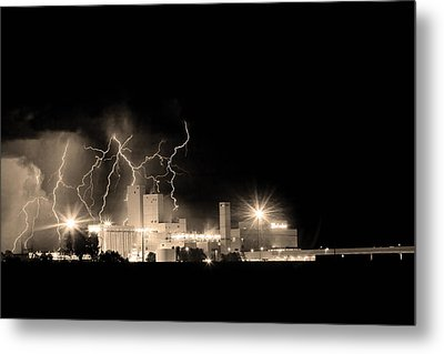 Budweiser Lightning Thunderstorm Moving Out Bw Sepia Metal Print by James BO  Insogna