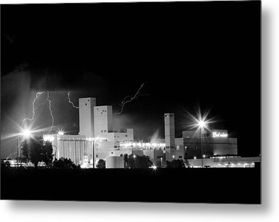 Budwesier Brewery Lightning Thunderstorm Image 3918  Bw Metal Print by James BO  Insogna