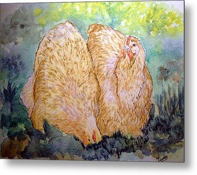 Buff Orpington Hens In The Garden Metal Print