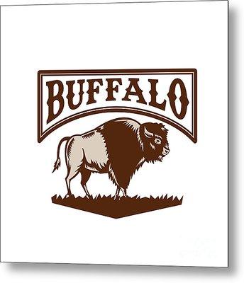 Buffalo American Bison Side Woodcut Metal Print