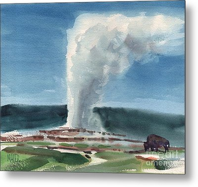 Buffalo And Geyser Metal Print by Donald Maier