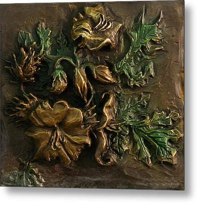 Metal Print featuring the relief Buffalo Bur Flower From Snowy Range Life by Dawn Senior-Trask