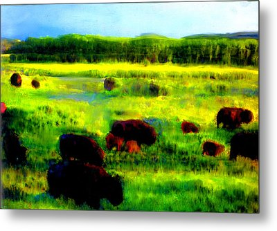Metal Print featuring the painting Buffalo Coming Home by FeatherStone Studio Julie A Miller