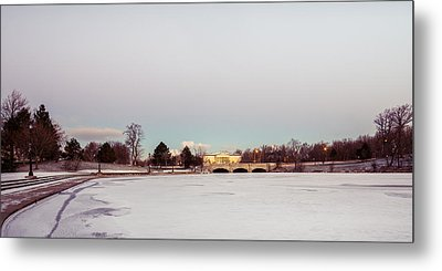 Metal Print featuring the photograph Buffalo History Museum Across Hoyt Lake by Chris Bordeleau