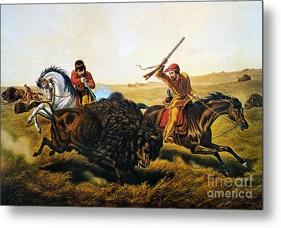Buffalo Hunt, 1862 Metal Print