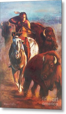 Metal Print featuring the painting Buffalo Hunt by Karen Kennedy Chatham