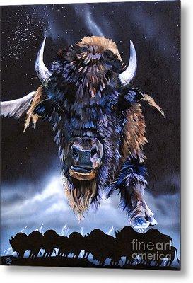 Buffalo Medicine Metal Print by J W Baker