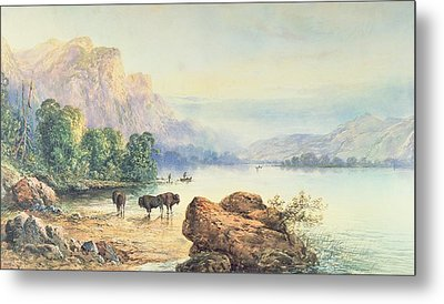 Buffalo Watering Metal Print by Thomas Moran