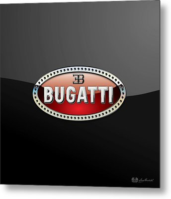 Bugatti - 3 D Badge On Black Metal Print by Serge Averbukh