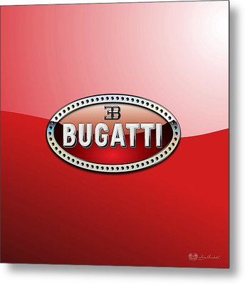 Bugatti - 3 D Badge On Red Metal Print by Serge Averbukh